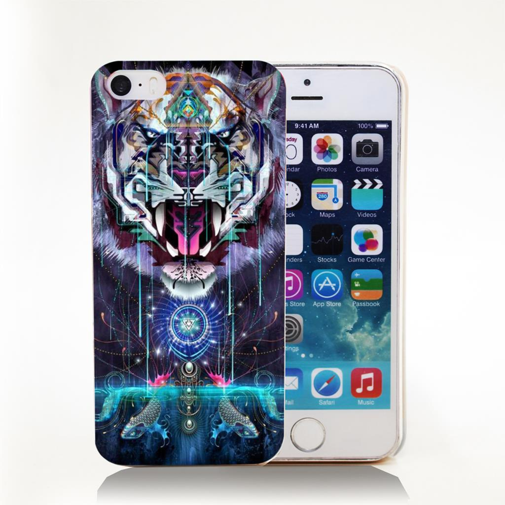 psychedelic digital art Hard Transparent Cover Case for iPhone 4 4s 5 5s 5c 6 6s Phone Cases Protect