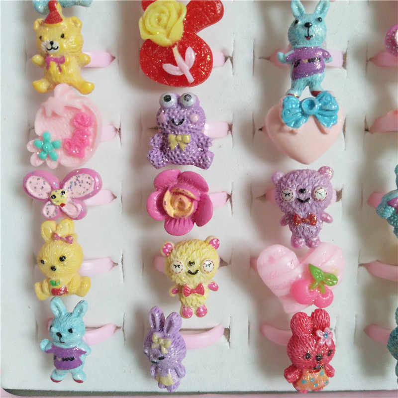 Wholesale Fashion rabbit Rings For little girls cute Ring Vintage Animal Fruit stars Opening Jewelry Ring