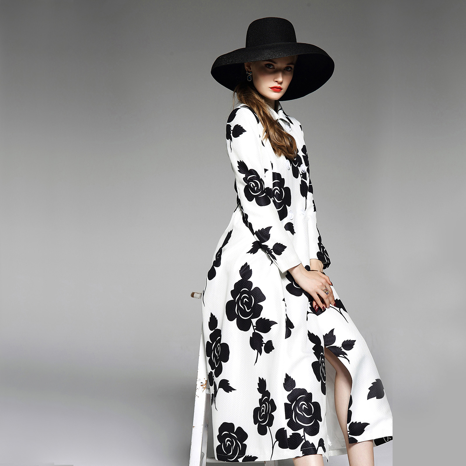 Lady Spring and Autumn Vintage Printed Double Breasted Slim Long   Trench   Coat Lapel Women Plus Size Elegant Windbreaker Overcoats