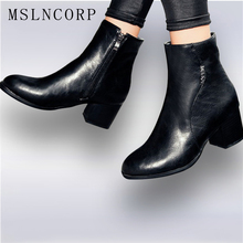 Size 34-45 Fashion Autumn Winter Zipper Women boots High heels Ladies Sapatos Martin Leather boots Square heel Snow Boots Shoes plus size 34 43 genuine leather flock ankle boots square high heel zipper autumn winter shoes ladies party fashion martin boots