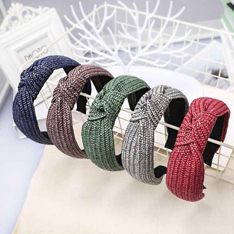 Korean Vintage Handmade Braided Faux Straw Headband Women Solid Color Wide Hair Hoop Top Handmade Bowknot Hair Styling Accessory
