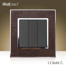 Wallpad Luxury 110V-250V 3 Gang Switch Goats Brown Leather 3 Gang 2 Way Switching Power Supply Button Lamp Switch Free Shipping(China)