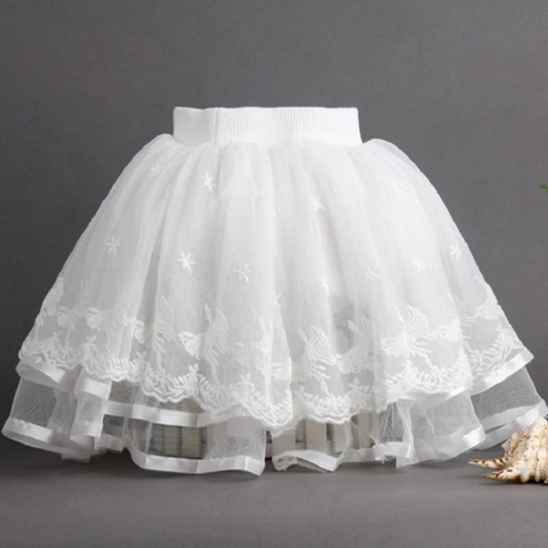 5cdb7f45f Baby Girls Tutu Skirt 3 7 Years White Fluffy Mini Skirt Summer Flower  Floral Lace Skirts Children Chiffon Pettiskirt KF519-in Skirts from Mother  & Kids on ...