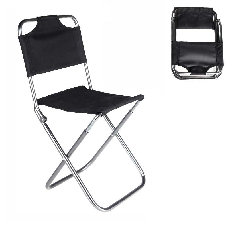 Portable Folding Chairs Best Gaming Desk Chair Aluminum Oxford Cloth Outdoor Fishing Camping With Backrest Carry Bag Black