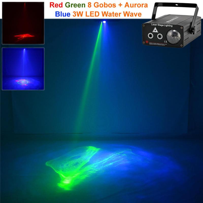 Mini 2 Len Red Green RG Gobo Laser Light Mix Blue LED Watermarks Aurora DJ Party Home Holiday Wedding Show Stage Lighting Effect эта веселая планета