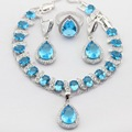Water Drop Silver Color Jewelry Sets Imitated Blue Cubic Zircon Women Christmas Necklace Pendant Drop Earrings Rings Bracelet