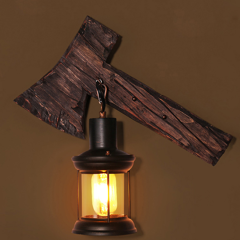 led e27 Loft Industrial Iron Wood Axe Shaped LED Lamp LED Light Wall lamp Wall Light Wall Sconce For Bar Store Foyer Bedroom norbic creative loft wood wall sconce lamp with switch home deco bedroom iron bell lampshade e27 bulb wall light fixture