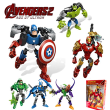 цены на Compatible legoe Marvel Super Heroes Avengers Building Blocks Ultron Figures  Iron Man Batman Hulk Captain America  Bricks Toys  в интернет-магазинах