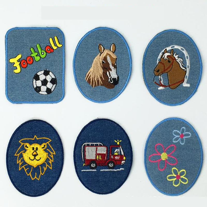 The Oval Cartoon Repair Hole Badge Patch Embroidered Patches For Clothing Iron On Close Shoes Bags Badges Embroidery DIY