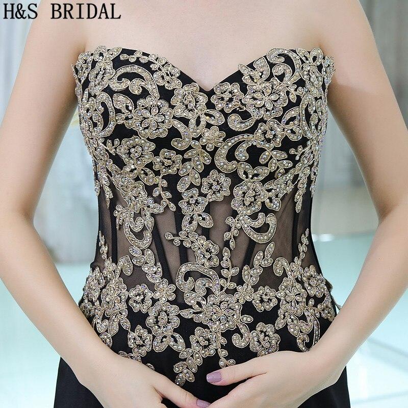 H & S BRIDAL Sweetheart Lace Applique Kralen Avondjurken vestidos de festa Chiffon Backless Avondjurk vestido longo - 4