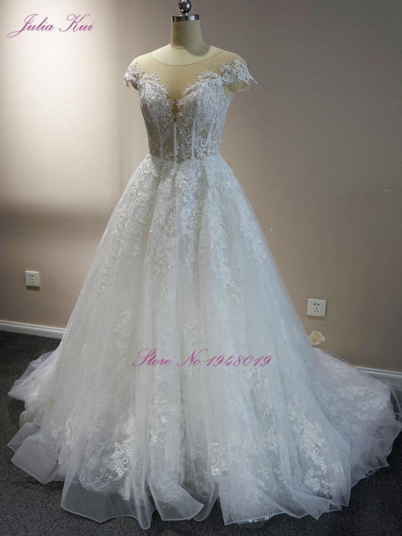 Julia Kui New Arrival A line Embroidery Lace Wedding Dress Scoop ...