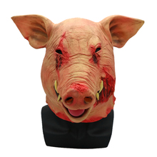 Horror Pig Overhead Animal Mask Latex Halloween Costume Scary Saw Full Head Evil Prop