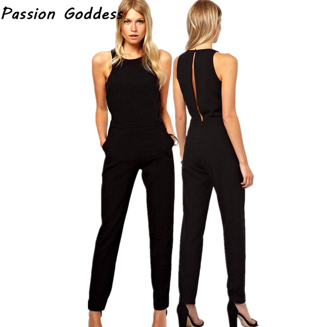 5b2f228be687 Elegant Lady Rompers Jumpsuit Crew Neck Long Playsuits Plus OL Black  Jumpsuits Zipper Hollow Sleeveless Long