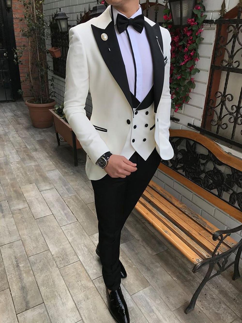 Men Suits 3 Pieces Slim Fit Business Suits Groom Champagne Noble Grey White Tuxedos For Formal Wedding Suit(Blazer+Pants+Vest)