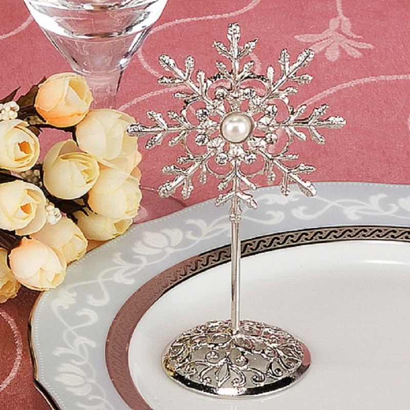 10pcs Silver Plated Snowflake Name Number Menu Table Place Card Holder Clip Wedding Party Decorate Reception Favor