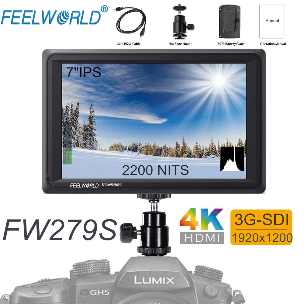 купить FEELWORLD FW279S 7 Inch IPS 2200nits 3G-SDI 4K HDMI Input Output Camera Field Monitor 1920X1200 DSLR LCD Monitor for Cameras по цене 22430.87 рублей