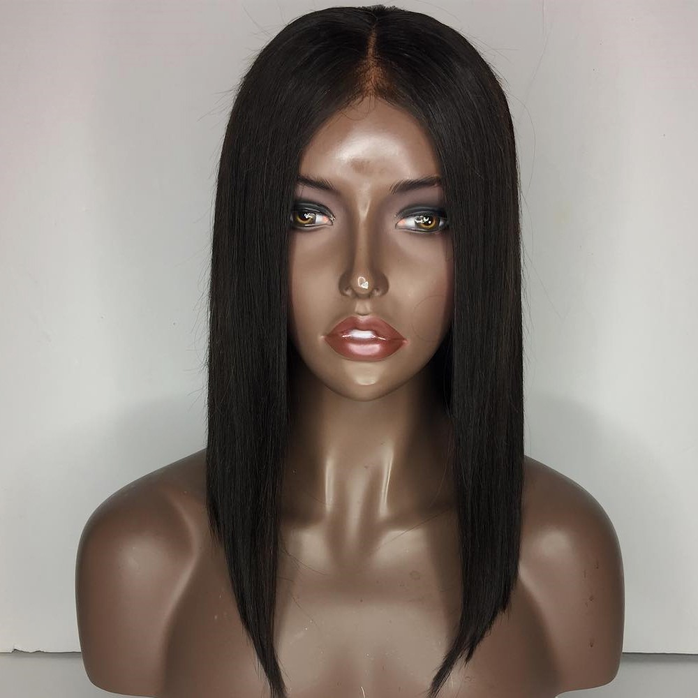 V'NICE Short Straight Hair Black LOB Wig Natural Hairline Synthetic Lace Front Wigs Bob Glueless Lace Front Wig for Women