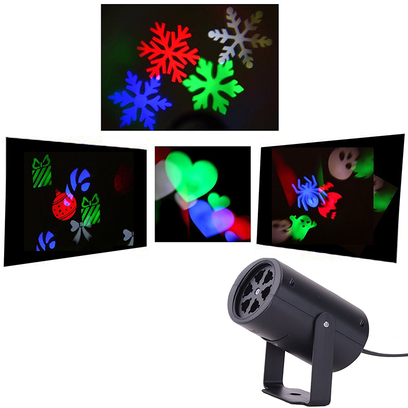 4 Types Colorful Rotating Christmas Snowflake Laser Projector Lights Halloween Party Decoration Indoor Landscape Projector Light plastic standing human skeleton life size for horror hunted house halloween decoration