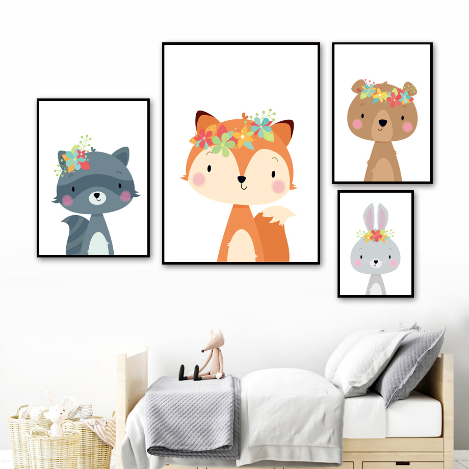 Image 3 - Cute Rabbit Fox Bear Deer Raccoon Nursery Nordic Posters And Prints Wall Art Canvas Painting Wall Pictures Baby Kids Room Decor-in Painting & Calligraphy from Home & Garden