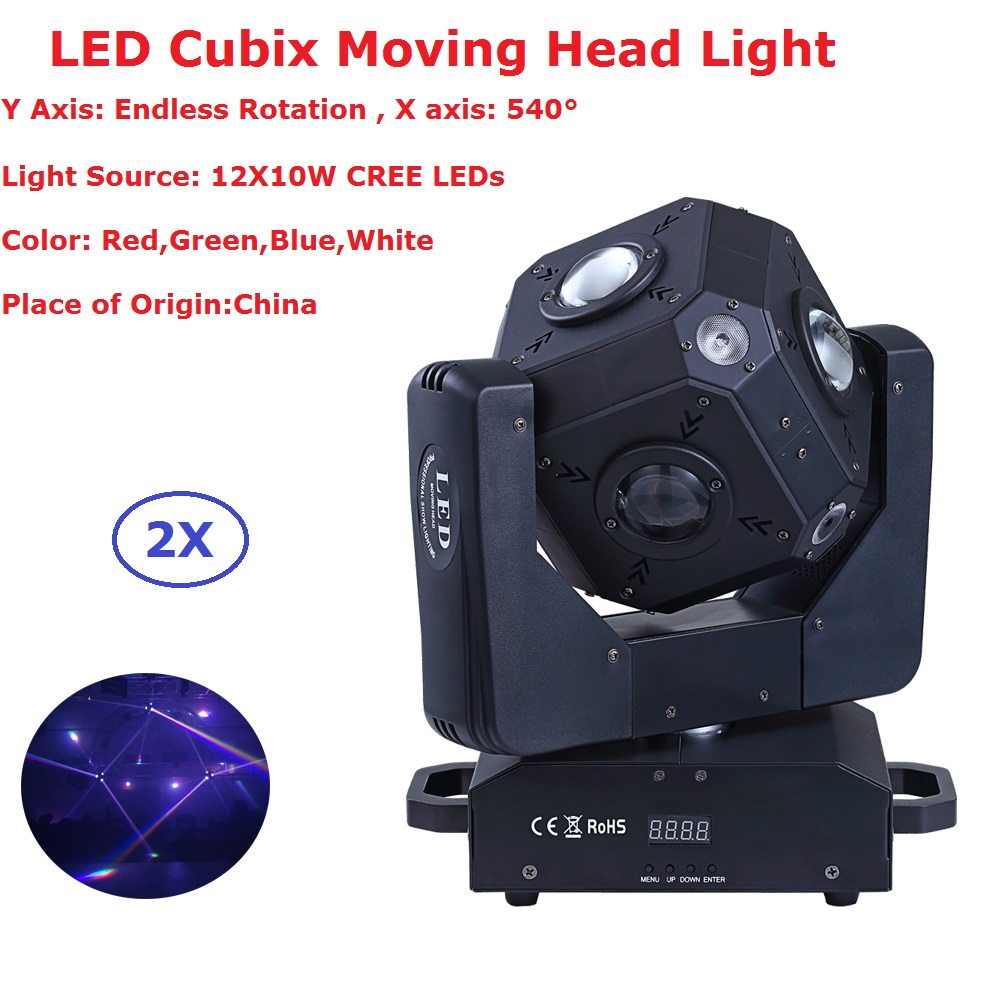 2Pcs/Lot CREE LEDs High Quality 12X10W RGBW 4IN1 LED Moving Head Stage Lights DMX 15/21 Channels Perfect For DJ Disco Shows