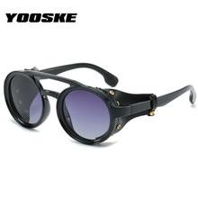 YOOSKE Retro Steampunk Sunglasses Men Round Brand Desinger P