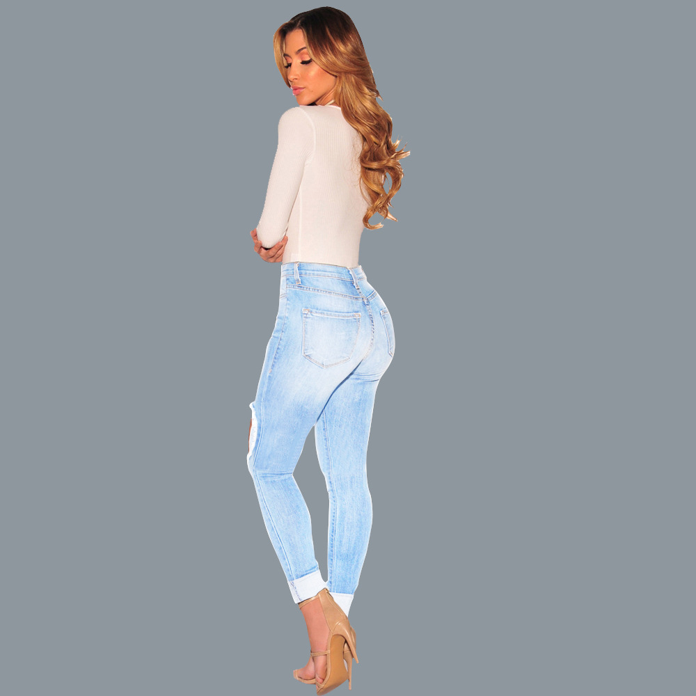 Hot style lady ripped jeans 3