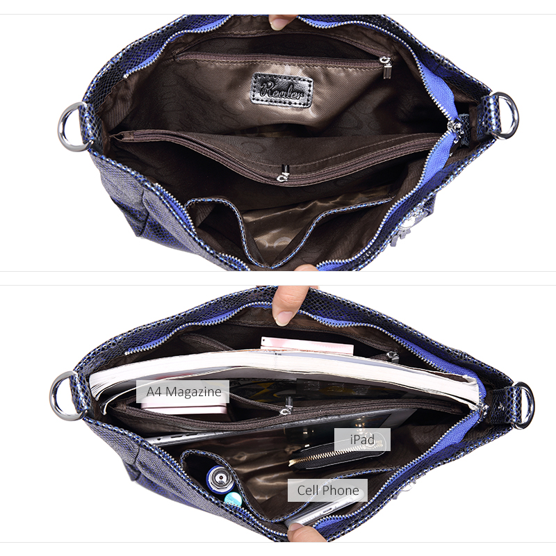 REALER women handbags genuine leather messenger bags female shoulder crossbody bag ladies big totes top handle bag high quality-in Top-Handle Bags from Luggage & Bags    2