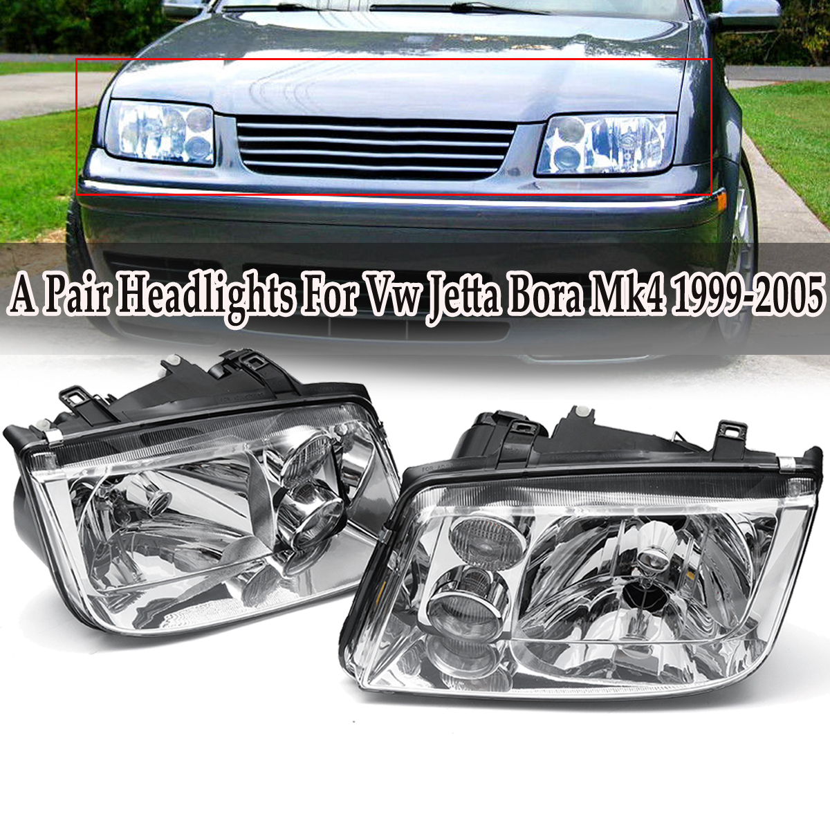 1 Pair Car Headlights Built In Fog Lamp Left + Right for Volkswagen for Vw Jetta Bora Mk4 1999-2005 1 pair left