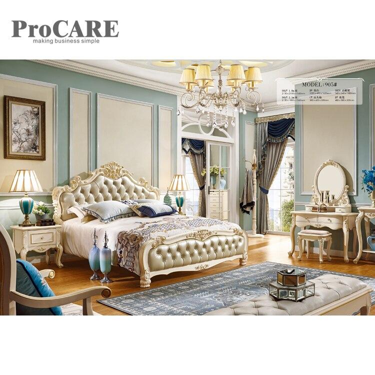 Le plus récent lit king size en bois en cuir européen sculpté design avec tiroir-905