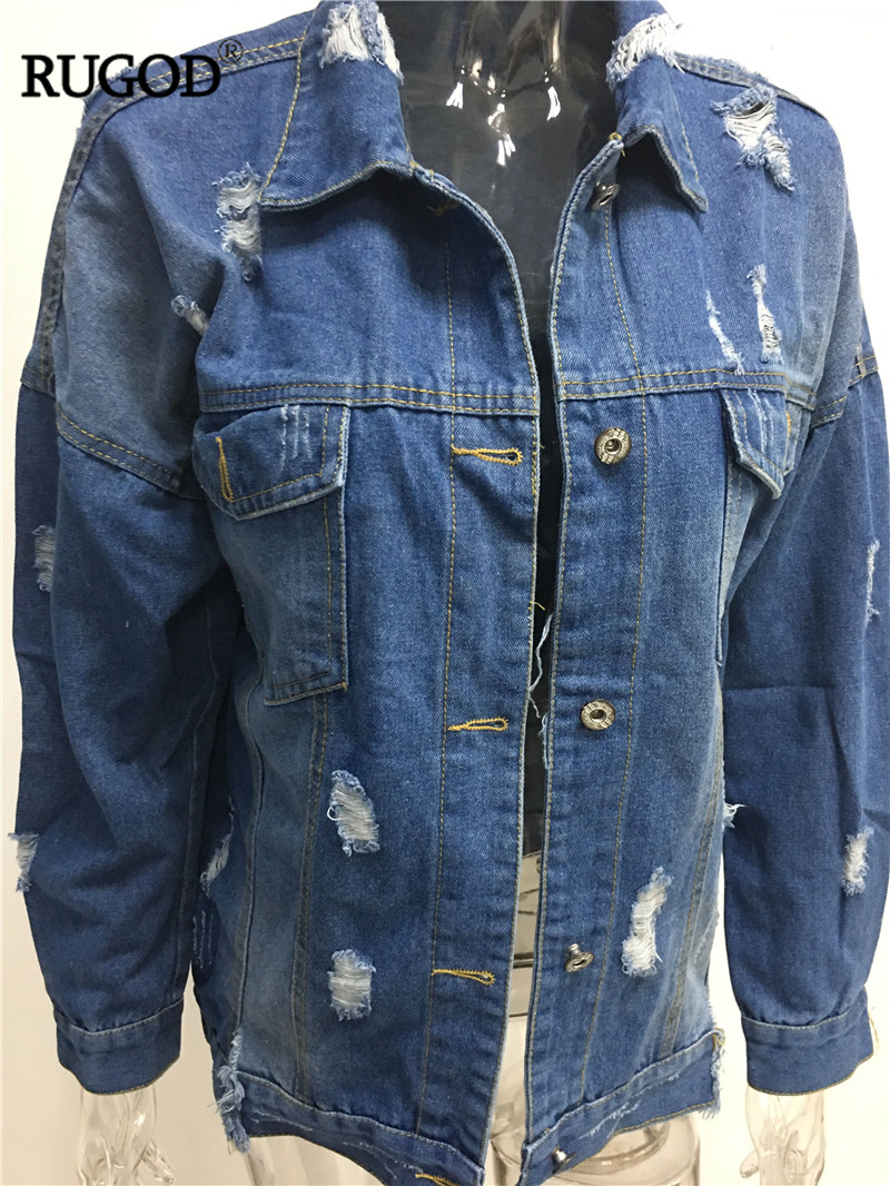 HTB1Pg3nXfvi21VjSZK9q6yAEpXaB RUGOD Basic Coat Bombers Vintage Fabric Patchwork Denim Jacket Women Cowboy Jeans 2019 Autumn Frayed Ripped Hole Jean Jacket