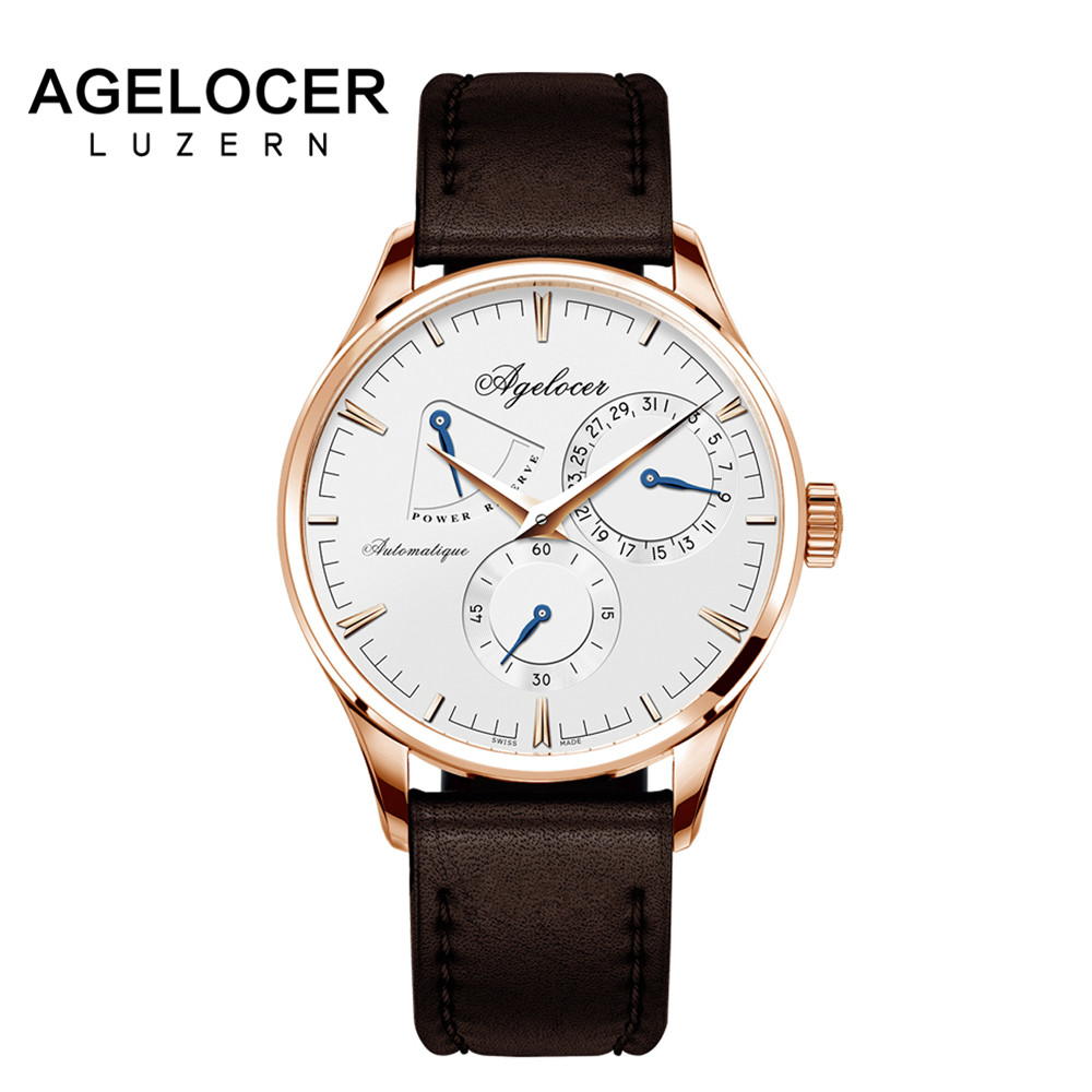 Swiss Design Army Watch Agelocer Men's Watches Automatic Mechanical Power Reserve 42 Hours display role seconds dial Watch Men цена