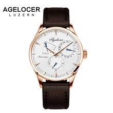 Relógios Mecânicos Automáticos dos homens Relógio Do Exército suíço Projeto Agelocer 42 Horas de exibição de Reserva de Energia papel segundos mostrador do Relógio Dos Homens