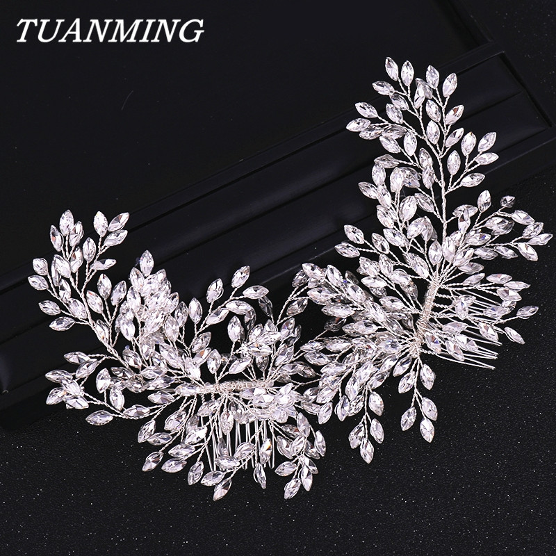Double Rhinestone Hair Comb Bridal Headband Wedding Hair Accessories Crystal Rhinestone Hair Comb Hairband Wedding Hair Jewelry(China)