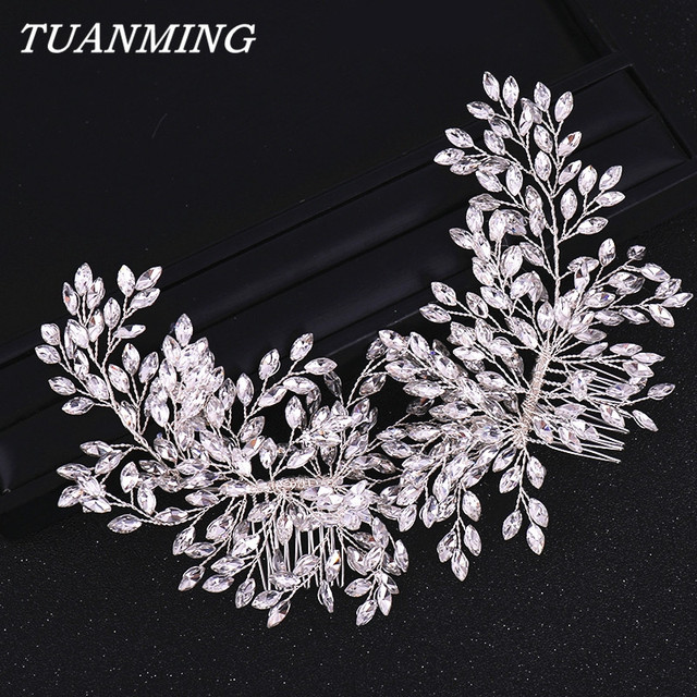 Double Rhinestone Hair Comb Bridal Headband Wedding Hair Accessories Crystal Rhinestone Hair Comb Hairband Wedding Hair Jewelry