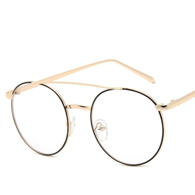 2017 new classic vintage women metal eyeglasses frames men round double bridges glasses frame female eyewear - Womens Metal Eyeglass Frames
