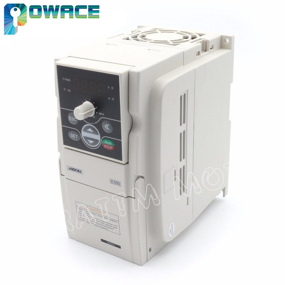 SUNFAR Wechselrichter VFD 2.2KW 220 V E550-2S0022 Frequenzumrichter 1000 HZ Frequenzumrichter RS485 Schnittstelle