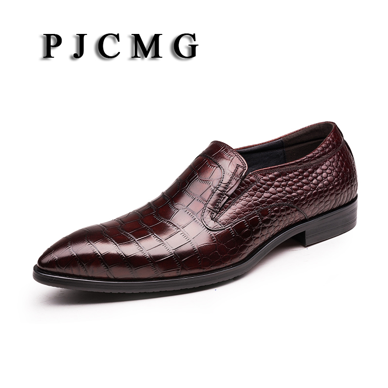 PJCMG Brand Dress Genuine Leather Red/Black Crocodile Style Slip-On Pointed Toe Formal Business Office Men Wedding Flats Shoes hot sale italian style men s flats shoes luxury brand business dress crocodile embossed genuine leather wedding oxford shoes