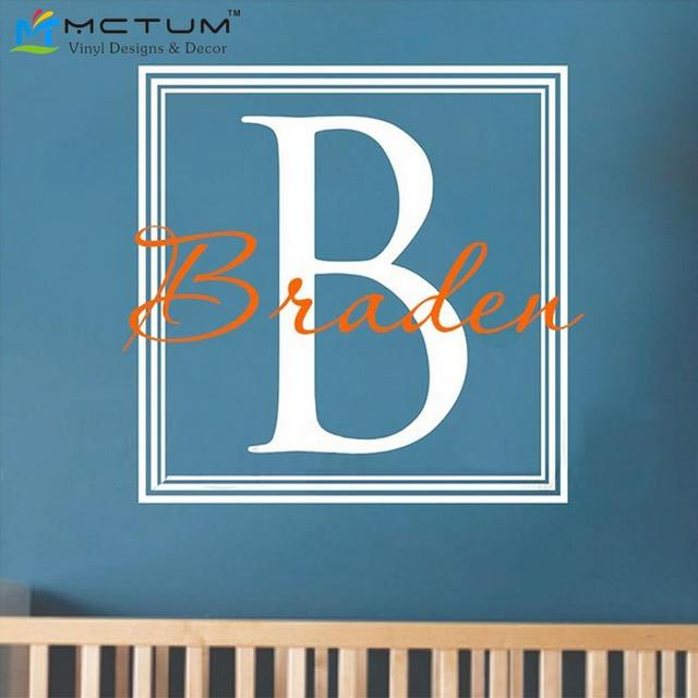 Square Monogram Wall Decals Personalized Name Nursery Vinyls Wall Art Wall  Stickers Kids Bedroom Decor Home
