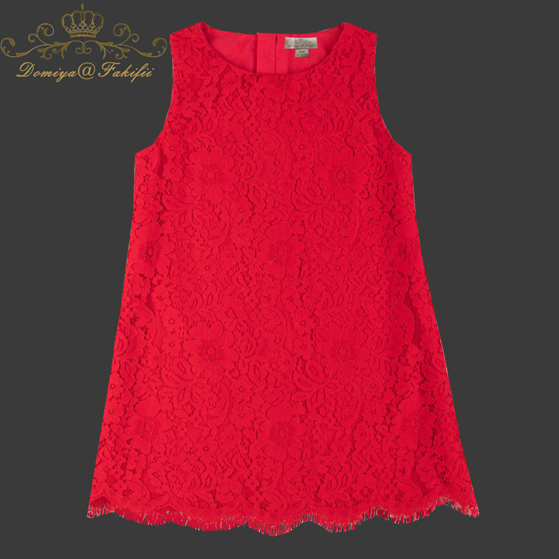 Baby Girl Red Lace Dress For Kids Toddler 2018 European Girl Summer Princess Casual Cute A-line Flower Dress 8 Year Kid Clothes ems dhl free shipping toddler little girl s 2017 princess ruffles layers sleeveless lace dress summer style suspender