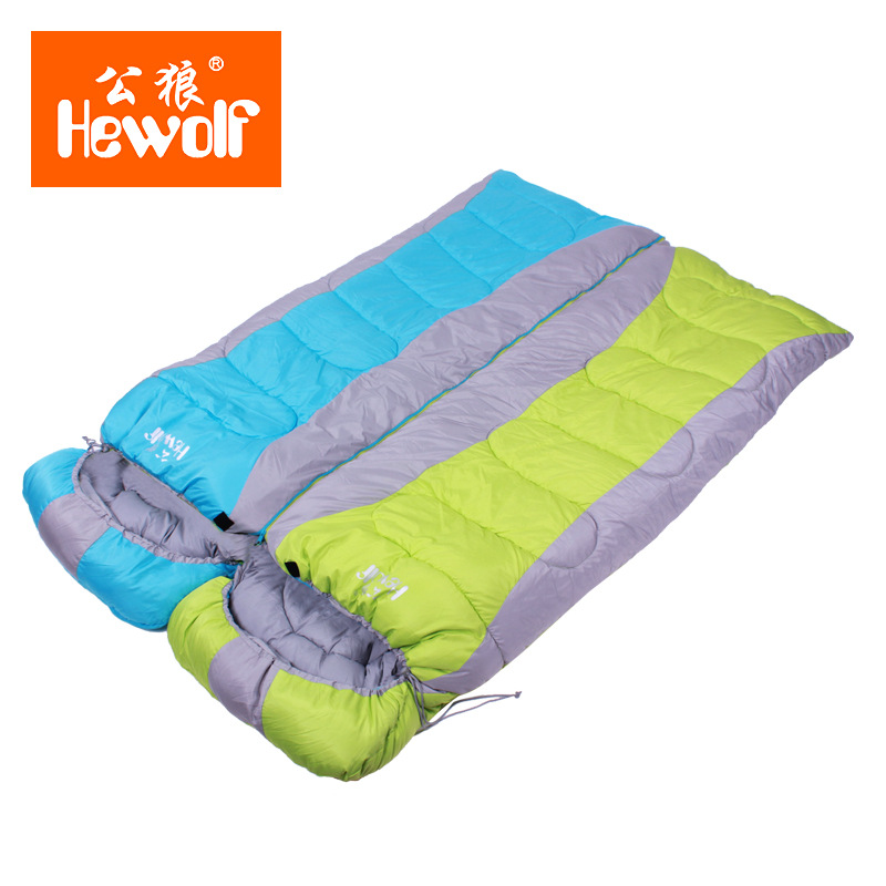 Hewolf Outdoor Mountaineering Sleeping Bag Envelope Four Seasons Adult Camping Sleeping Bag Cotton Lunch Camping Sleeping Bag