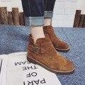 Camurça Sapatos de Couro Botas de Couro Genuíno das Mulheres Do Couro Botas Com Zíper no Calcanhar Grosso Botas de Fivela No Tornozelo Preto Marrom