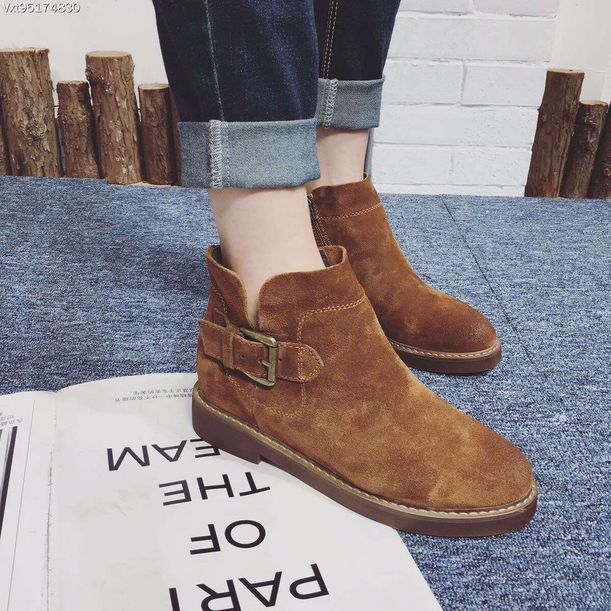 ФОТО Suede Cowhide Leather Shoes Women's Boots Genuine Leather Buckle Ankle Boots Thick Heel Zipper Boots Black Brown