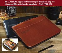 A4 Classical Calculator Handle Manager Zipper Leather Portfilio Document Bag Business File Folder Brief Case With