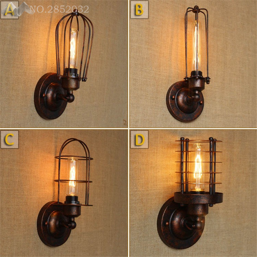 Modern Vintage Loft wall lamp Adjustable Metal Light retro brass wall lamp country style Sconce Lighting Fixtures Diameter Cage