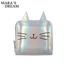 Mara's Dream 2018 New Fashion Women Cat Ear Printing Wallet Solid Zipper Female Short Purs