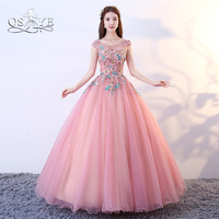 QSYYE 2018 Pink Long Prom Dresses Ball Gown 3D Lace Flower Floor Length Tulle Formal Evening Dress Party Gown Custom Made