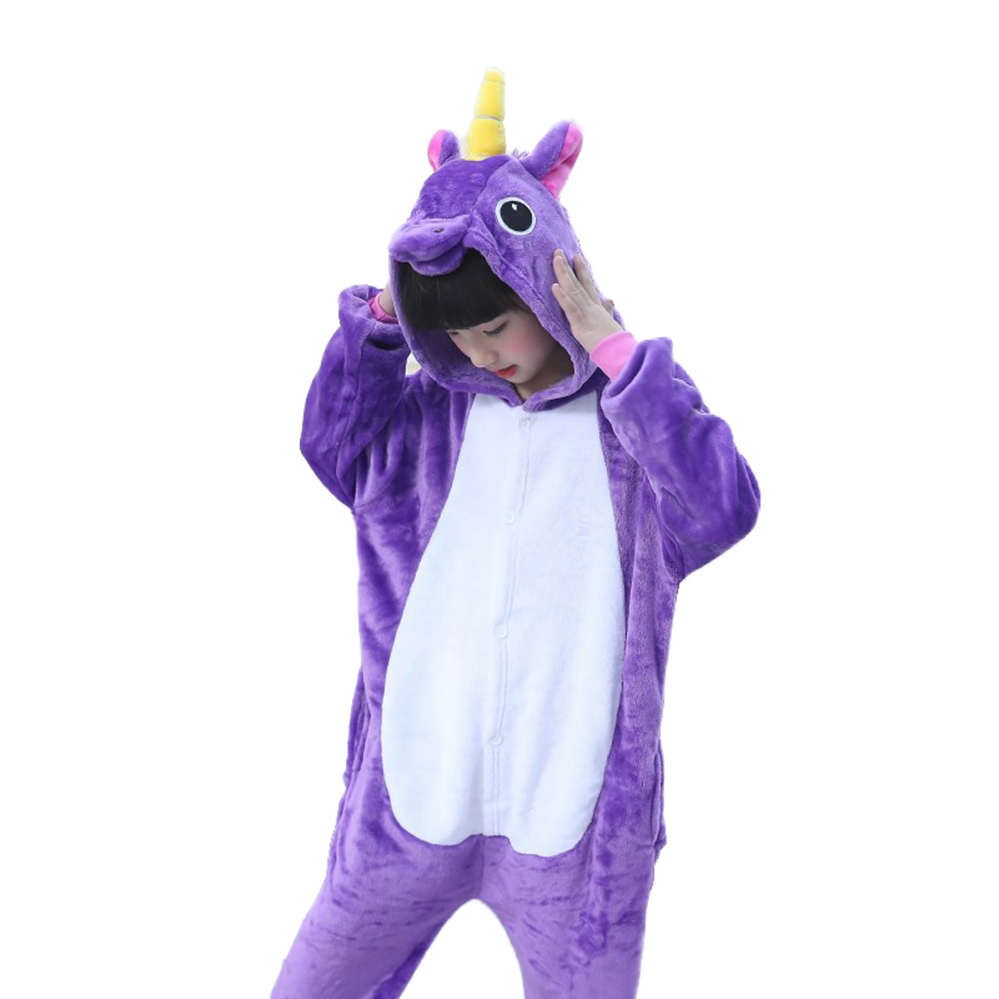 Boys Girls Pajamas Set Animal Pegasus Cartoon Cosplay Kids Onesies Sleepwear Winter Flannel Hooded Baby Child 4 5 8 10 12 Years