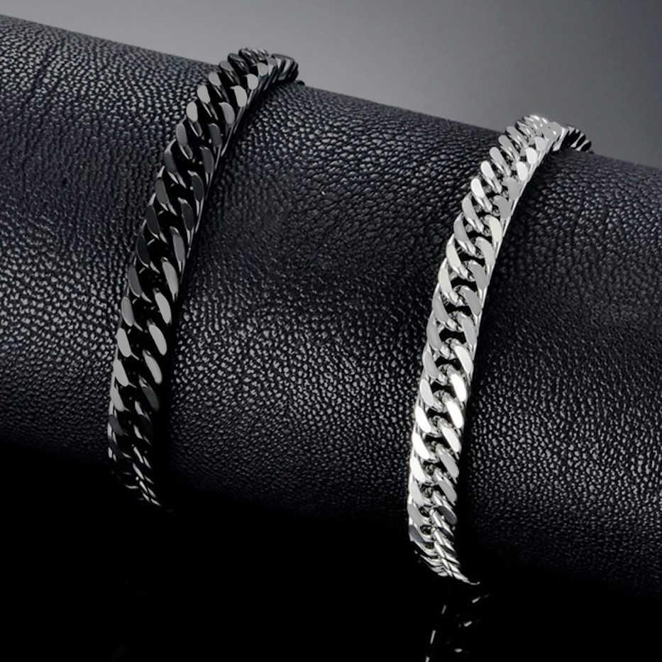 Męskie Miami Curb kubański Link bransoletka 6.5mm kolor złoty łańcuch ze stali nierdzewnej Link bransoletka dla mężczyzn Hip Hop biżuteria 21 cm bransoletka
