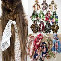 Mode frauen Süße Druck Scrunchie Frauen Band Elastische haar krawatten Bogen Schal Haar Gummi Haar Seile Mädchen haar accessoires