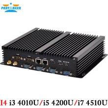 Partaker i4 мини-компьютер без вентилятора mini pc windows 10 core i3 i7 i5 4200u 4510u 4010u dual lan 6 * rs232 промышленного pc прочный pc